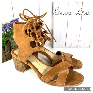 Gianni Bini lace up sandals block heel 7